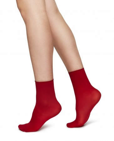 Swedish Stockings sokker, Judith Premium 30 denier - DARK RED/CREME 2-pk