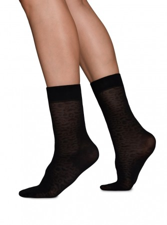 Swedish Stockings - EMMA Leopard Sock Black 60 denier