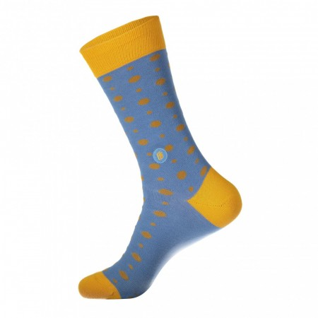 Socks that give books str. 36-40 (Conscious Step sokker), lys blå/gul POLKA DOTS