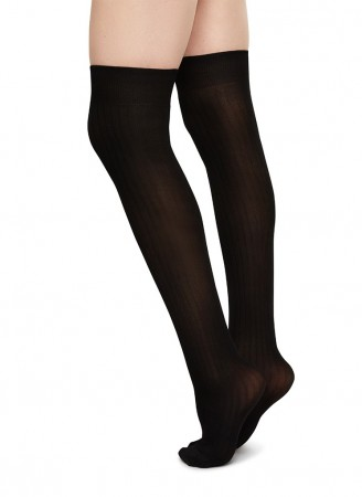 Swedish Stockings knestrømper, ELLA RIB, Black