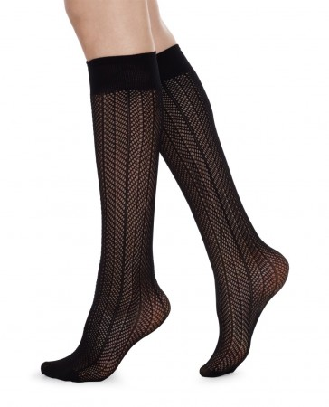 Swedish Stockings - ASTRID FISHNET KNEE HIGH knestrømper, Micro net black